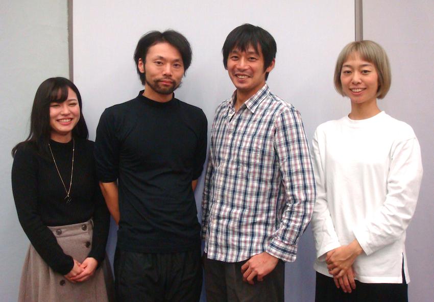 左から・〈刈馬演劇設計社〉制作の岡彩織、出演者の西藤将人、作・演出の刈馬カオス、出演者の岡本理沙