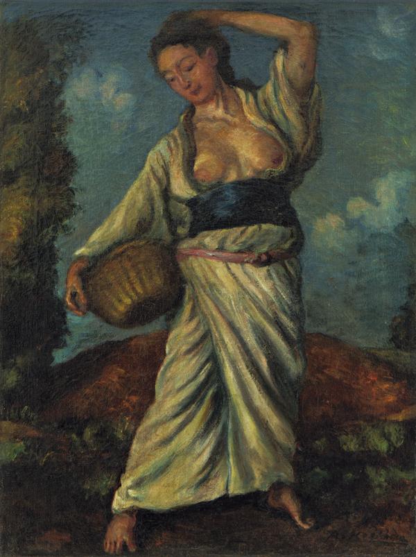 《黒き土の上に立てる女》1914年7月25日 油彩・麻布 似鳥美術館蔵