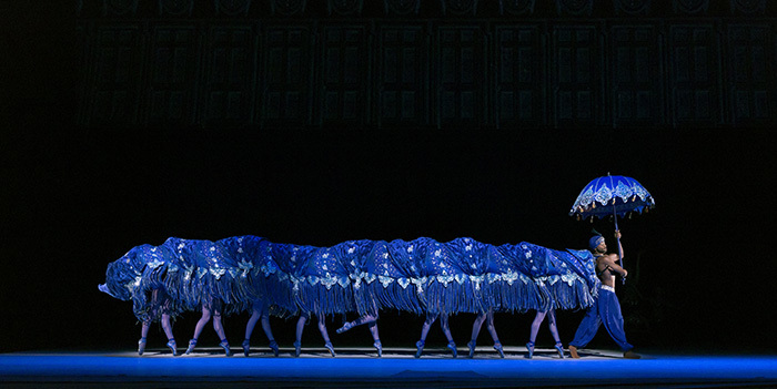 Alice's Adventures in Wonderland. Eric Underwood as the Caterpillar with Artists of The Royal Ballet.