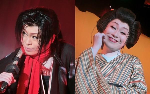 藤乃かな座長 左・立ち役(男役)(2015/9/21) 右・女形(2015/8/28) 筆者撮影