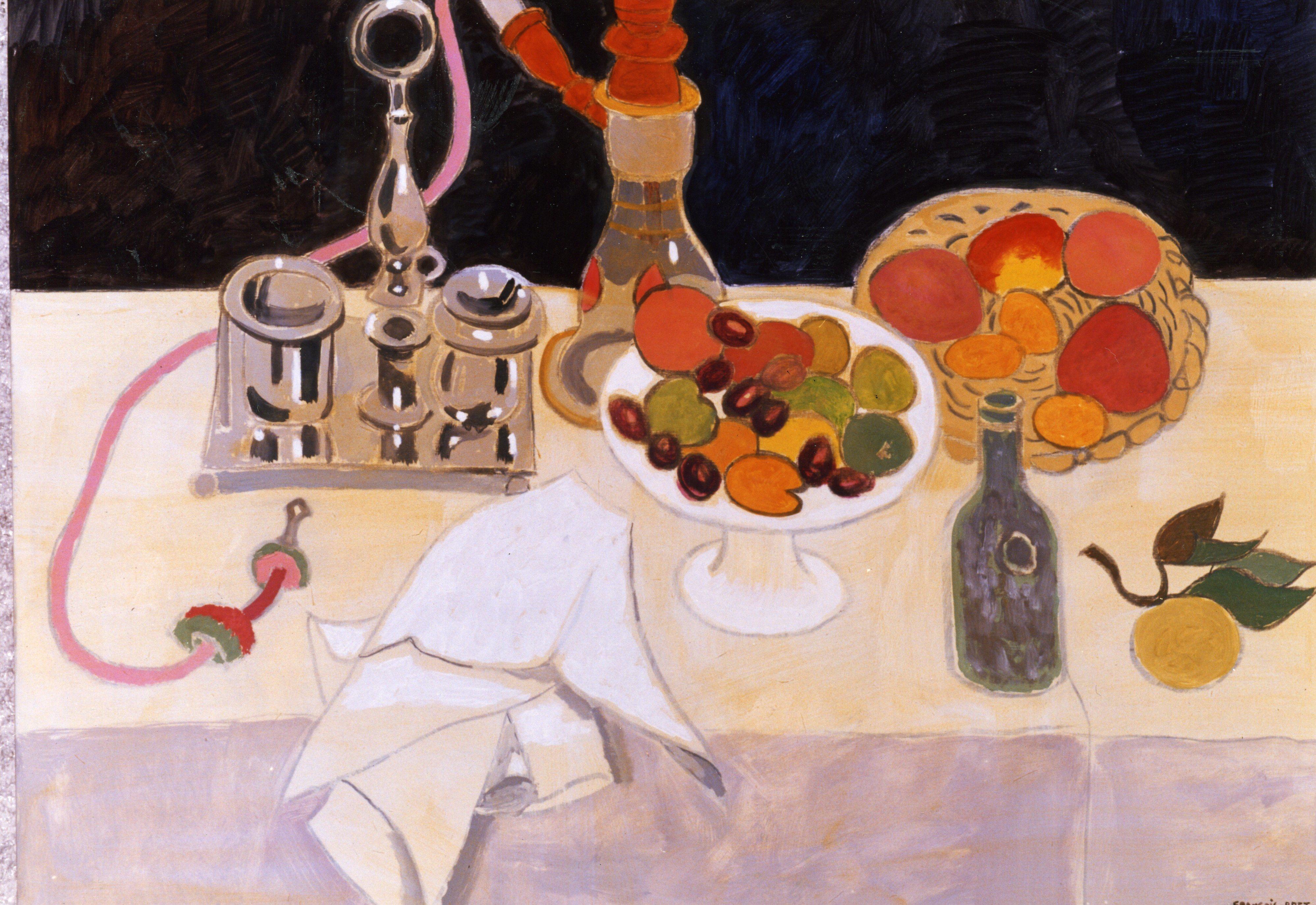 「銀器と水ギセルと果物」