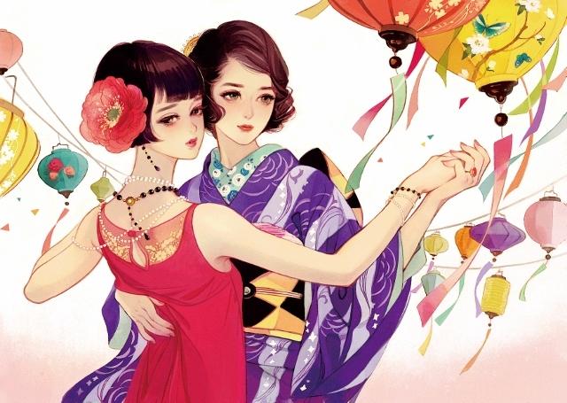 マツオヒロミ画「ダンス」(初公開) 大正時代に活躍した作家の田村俊子をイメージした作品