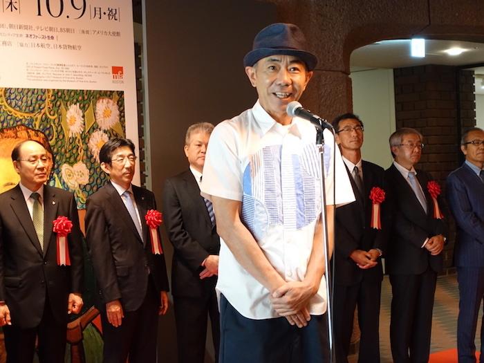 開会式にて本展の魅力を語る、展覧会スペシャルサポーター・木梨憲武