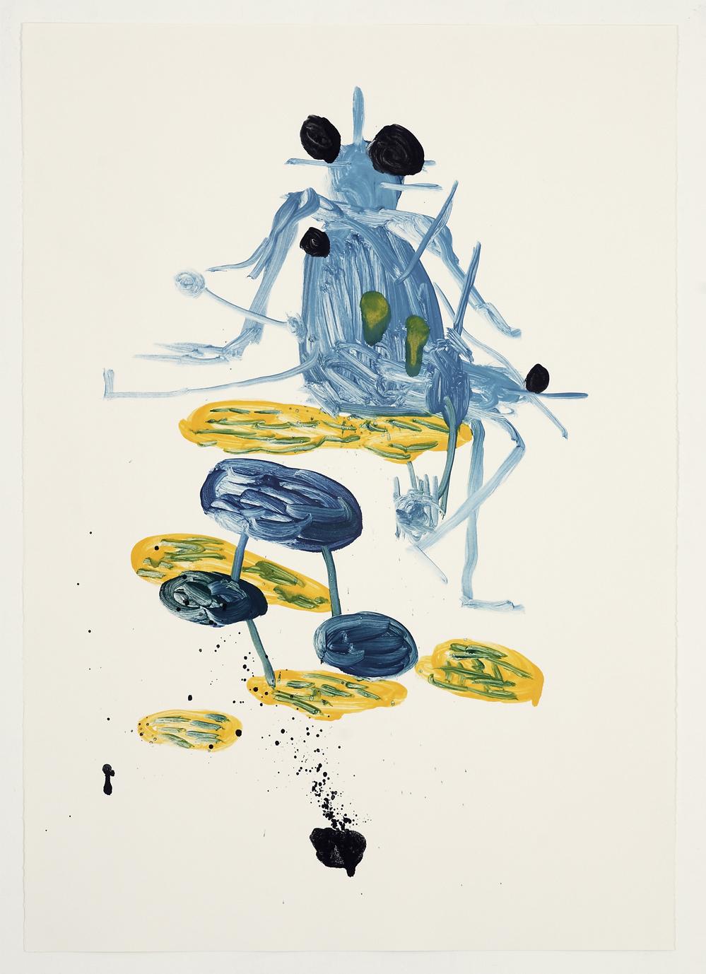 デイヴィッド・シュリグリー「無題(黒い目の青い昆虫)」2007 Courtesy: Artist and the British Council Collection