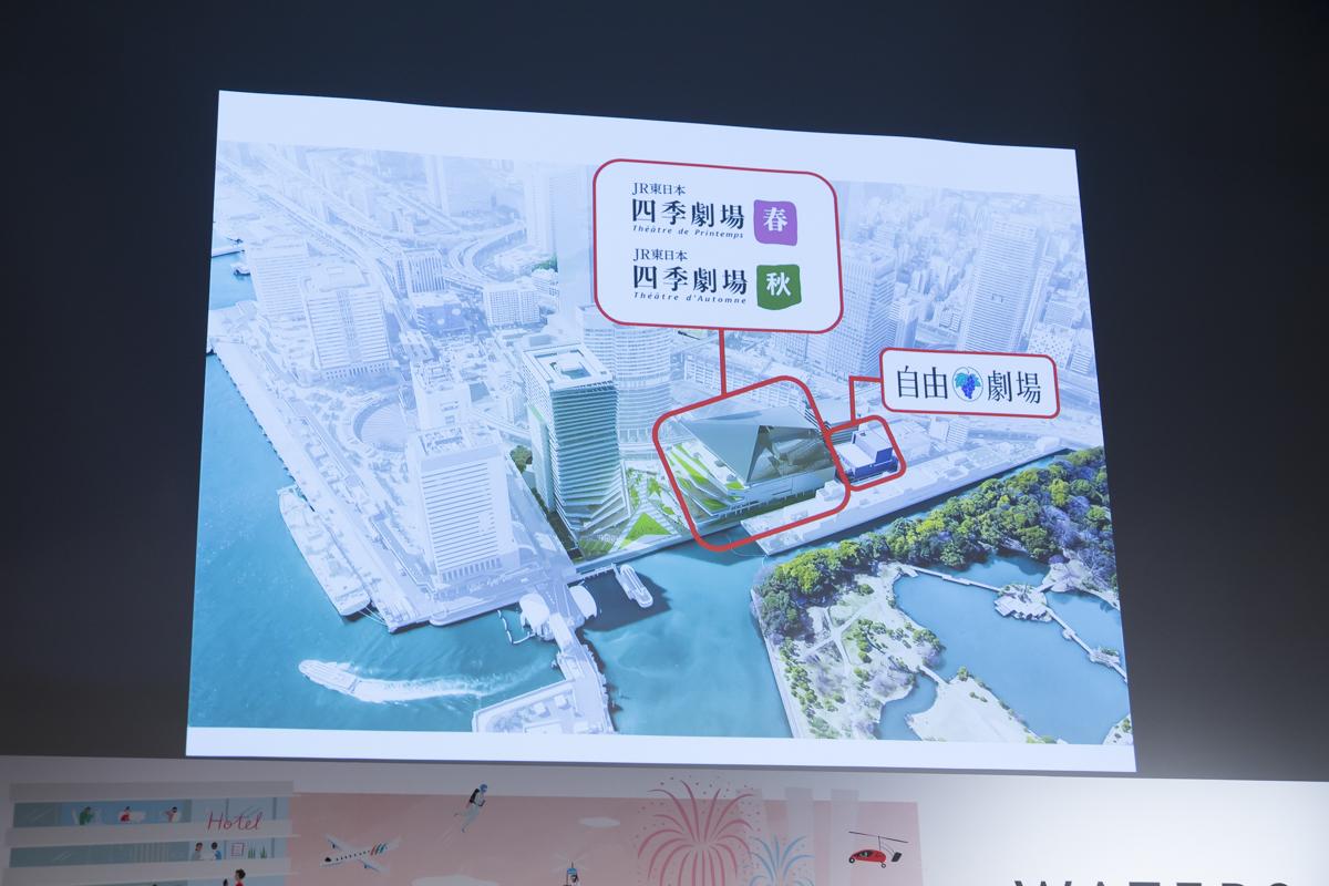 ふたつの新劇場と自由劇場の位置関係(撮影:中田智章)