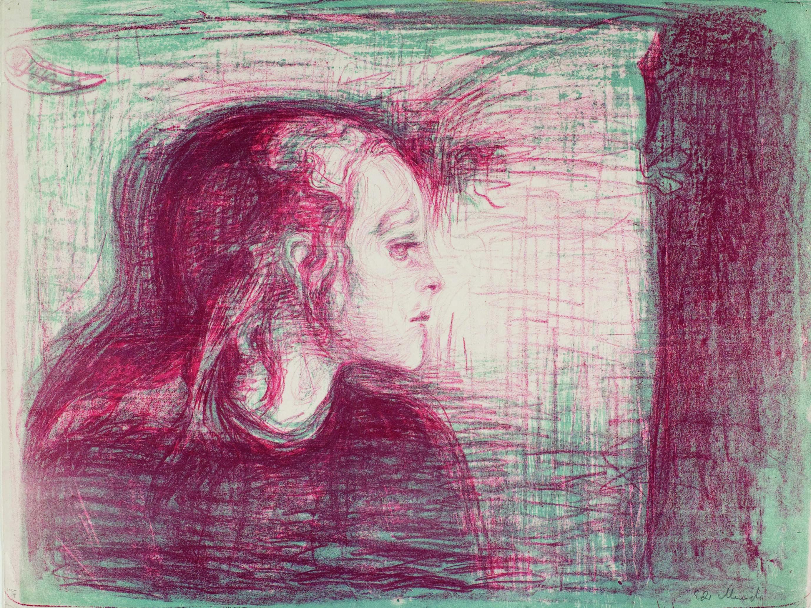 エドヴァルド・ムンク《病める子Ⅰ》1896年 リトグラフ 43.2×57.1cm