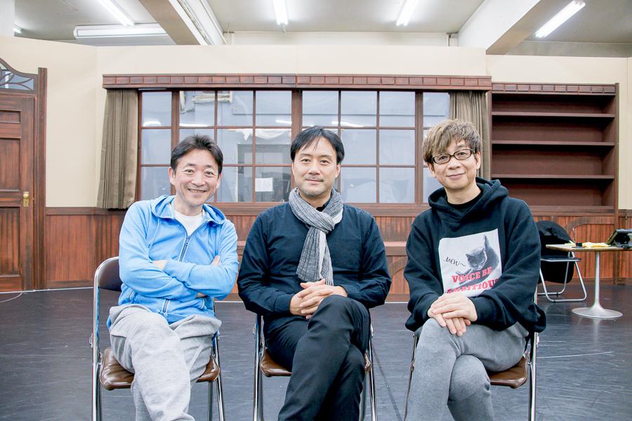 左から、水島裕、野坂実、山寺宏一。