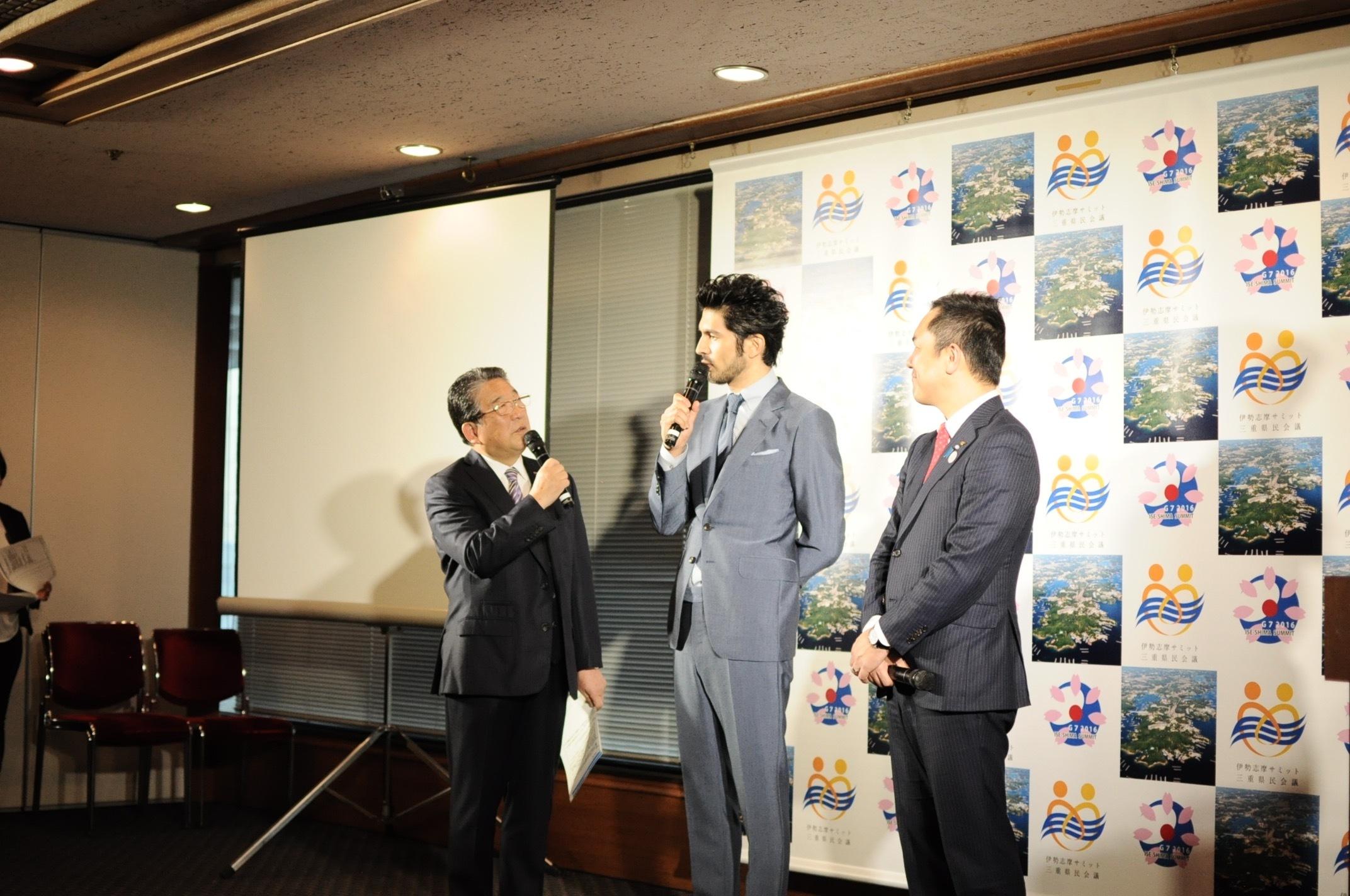 德光和夫(写真左)、平井堅(写真中央)、鈴木英敬三重県知事(写真右)