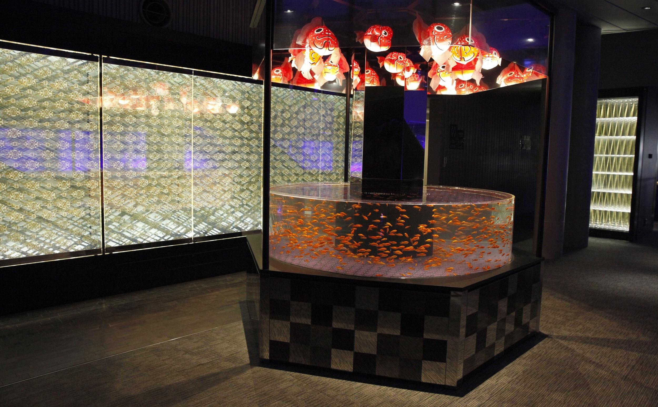 「江戸リウム」の金魚展示水槽が金魚アートで彩られる
