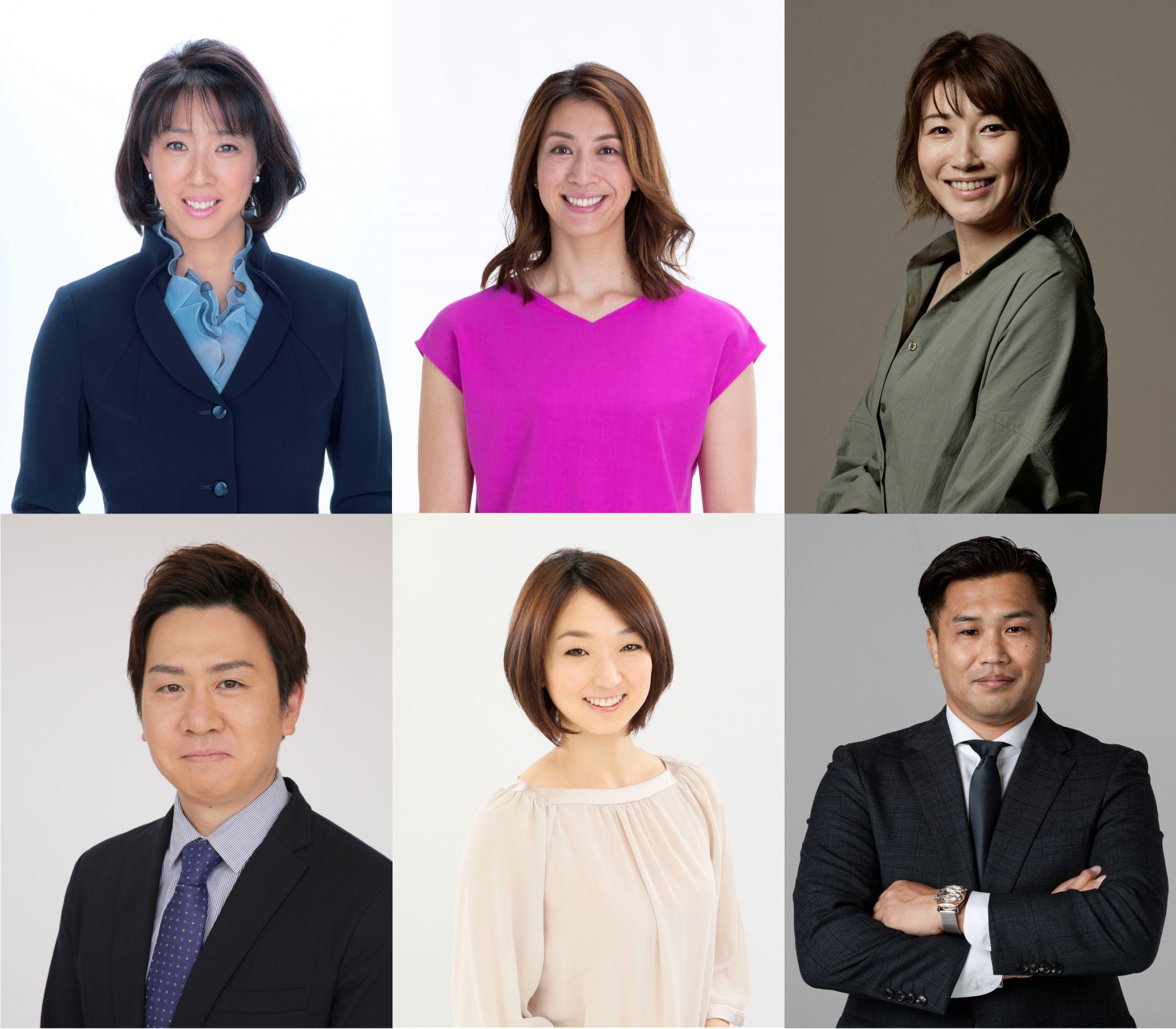 写真上段左より:小谷実可子、寺川 綾、狩野舞子  写真下段左より:本田武史、岩崎恭子、大西将太郎