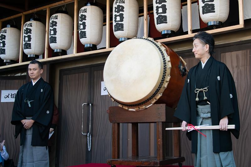 (左から)田中傳次郎、中村七之助