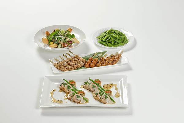 豊後どり・糸島ポークのインボルティーニ、きのことほうれん草のサラダ、焼鳥盛合せ、枝豆