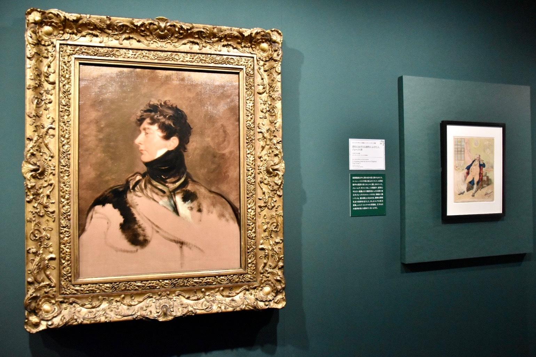 左:トーマス・ローレンス《ジョージ4世》1814年頃、右奥:ジェームズ・ギルレイ原画、ハンナ・ハンフリー出版《消化におびえる酒色にふけた人、ジョージ4世》1792年7月2日出版
