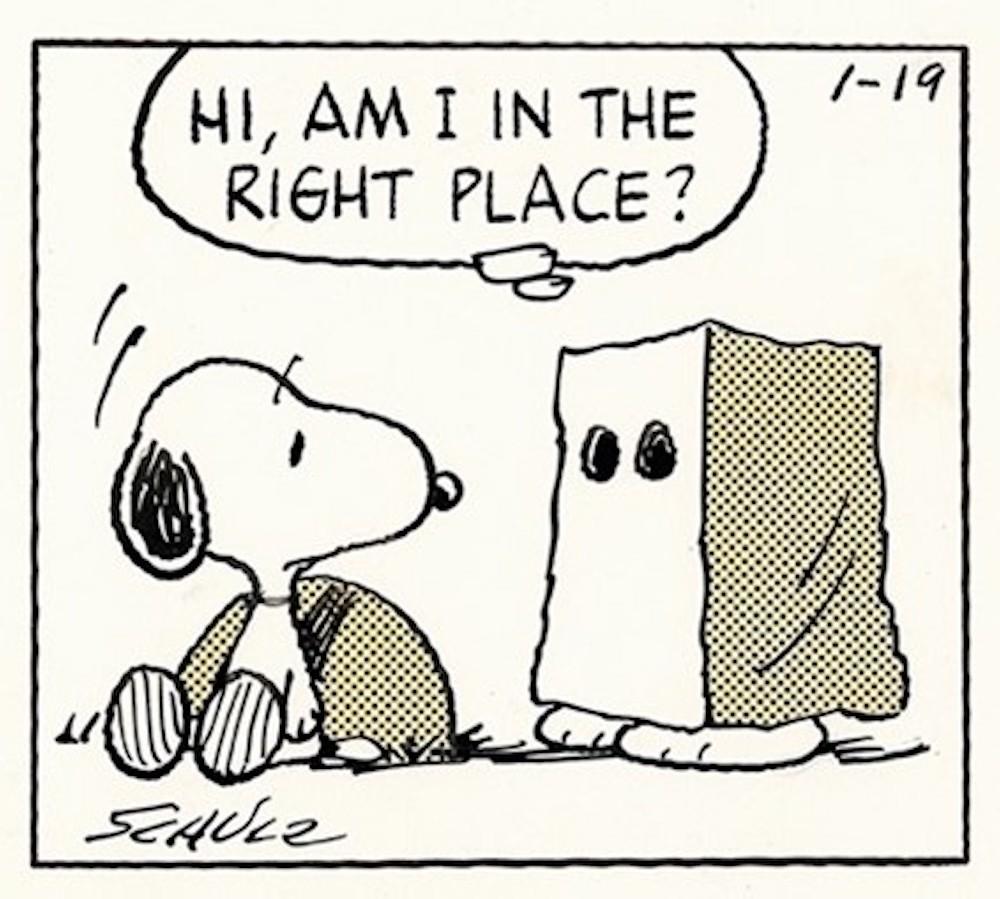 「ピーナッツ」原画(部分) 1989年1月19日 (C)Peanuts Worldwide LLC