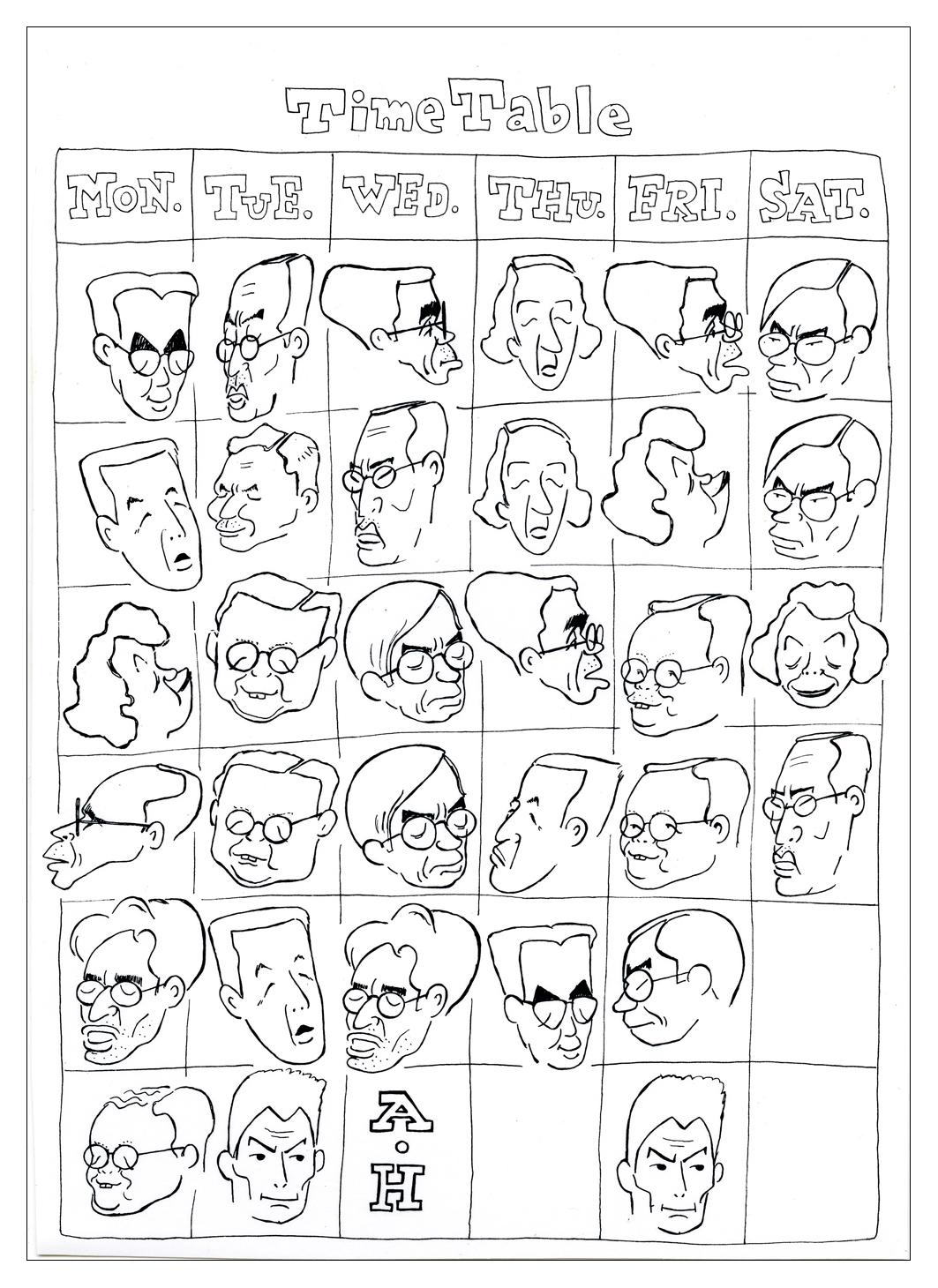 和田が高校2年生の頃に作った先生の似顔による時間割表〈1953年〉
