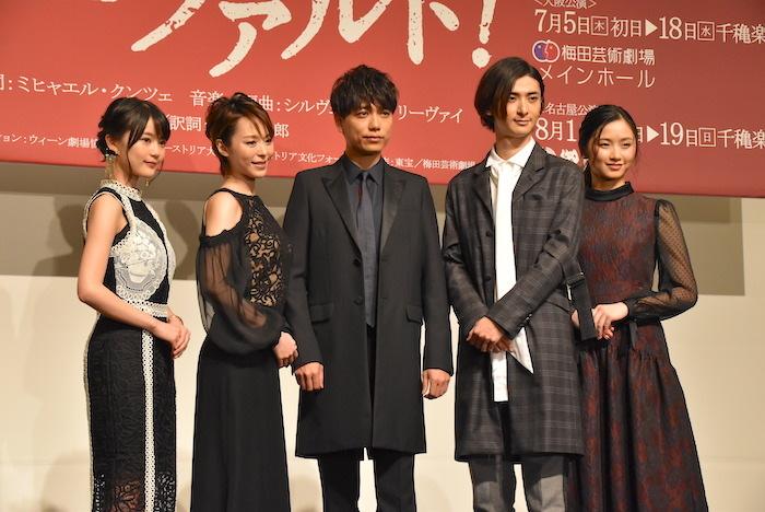 (左から)生田絵梨花、平野綾、山崎育三郎、古川雄大、木下晴香