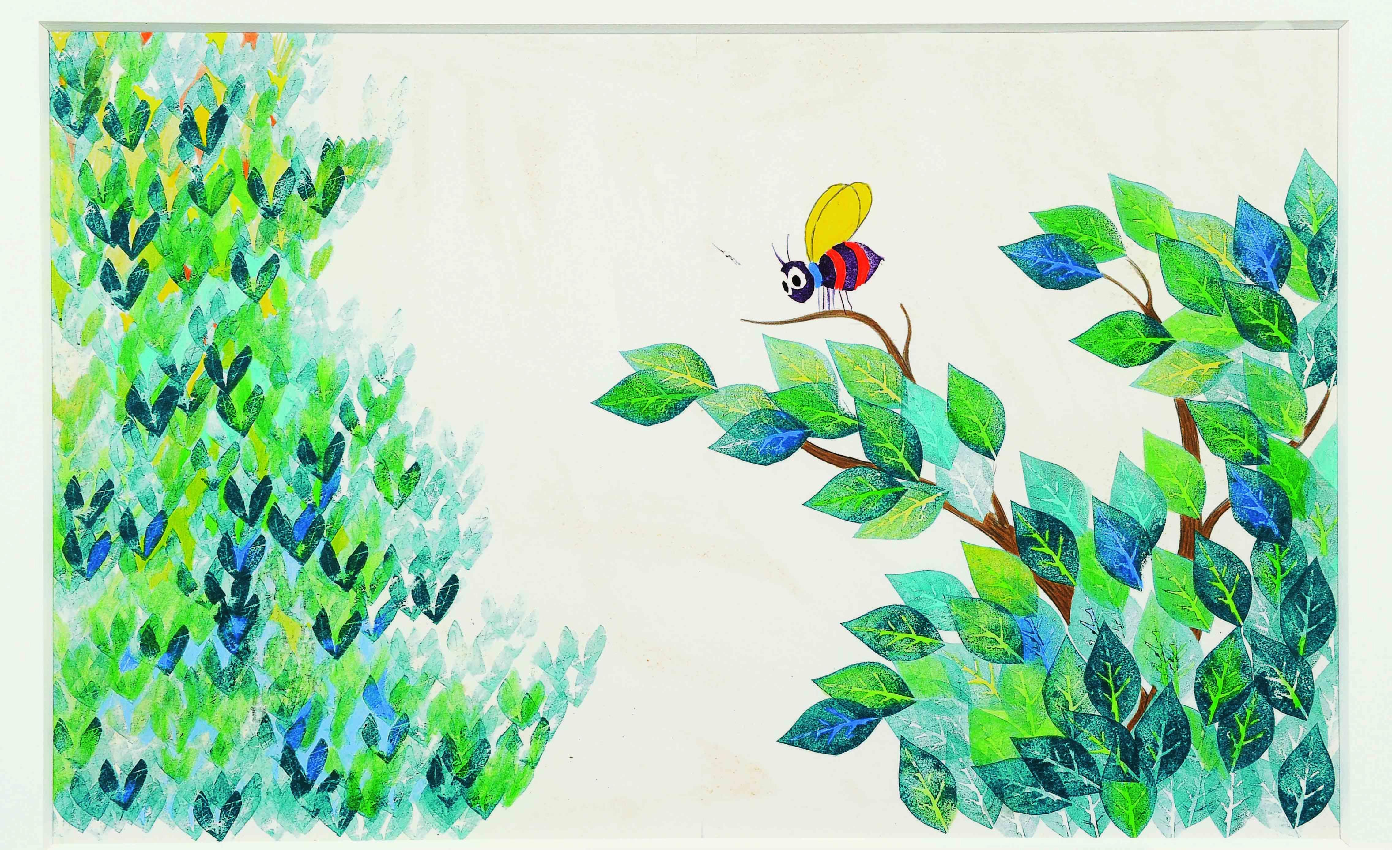 「あいうえおのき」 1968年 水彩、紙 51×63.6cm The Alphabet Tree (C)1968, renewed  1996 by Leo Lionni / Pantheon Works by Leo Lionni, On Loan By The Lionni Family