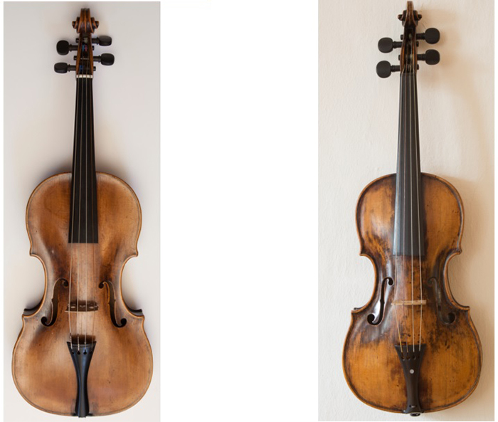 モーツァルトのコンサート・ヴァイオリン(左)とチャイルド・ヴァイオリン(右)