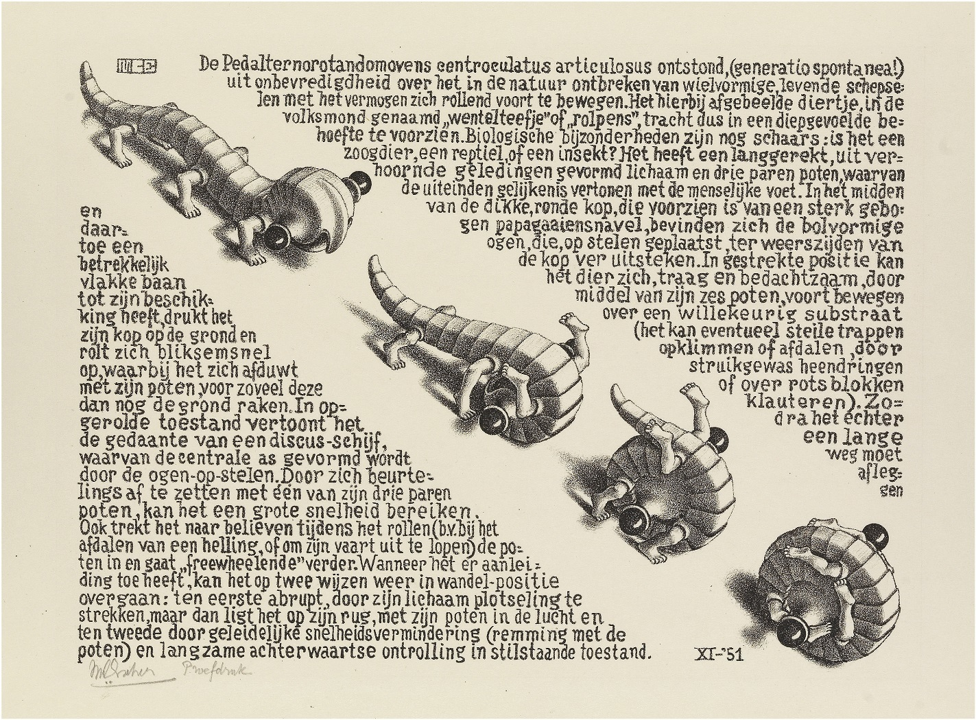 《でんぐりでんぐり》 1951年 All M.C. Escher works © The M.C. Escher Company, The Netherlands. All rights reserved.