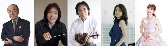 左から、 池辺晋一郎(音楽監督)、 飯森範親(指揮)、 徳永二男(エグゼクティブ・ディレクター)、 仲道郁代'(ピアノ)、 梅津碧(ソプラノ)
