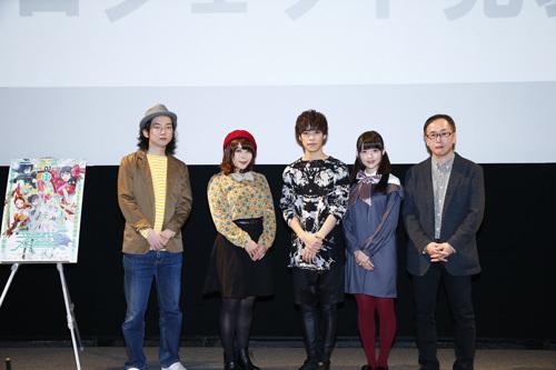 左から高橋悠也さん(原案・シリーズ構成)、ED主題歌を歌う新田恵海さん、小野賢章さん、上坂すみれさん、千明孝一さん(監督)  (C)Project Luck & Logic