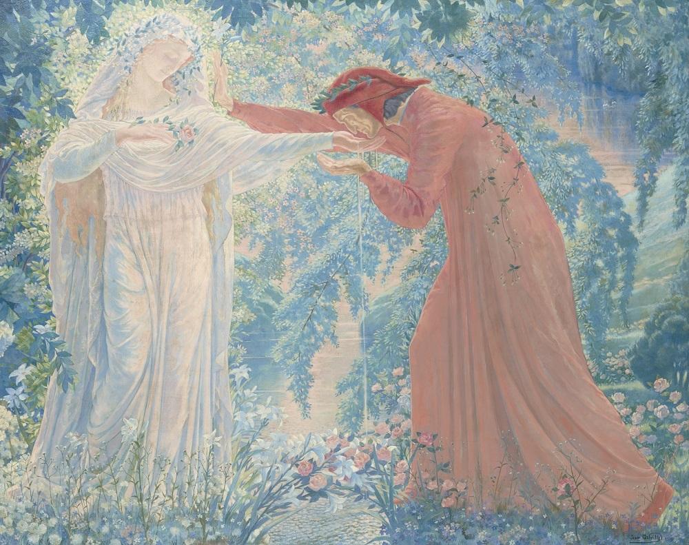 ジャン・デルヴィル《レテ河の水を飲むダンテ》 1919年 油彩、キャンヴァス 姫路市立美術館
