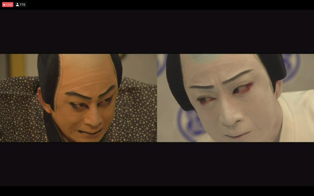 「図夢歌舞伎『忠臣蔵』第二回」右から、塩冶判官=松本幸四郎、大星由良之助=松本幸四郎