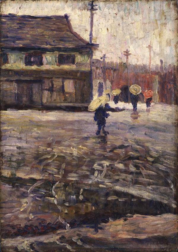 《銀座数寄屋橋》1909年頃 油彩・板 郡山市立美術館蔵
