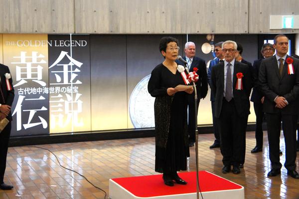 開会式にて挨拶をする国立西洋美術館館長・馬渕朋子さん