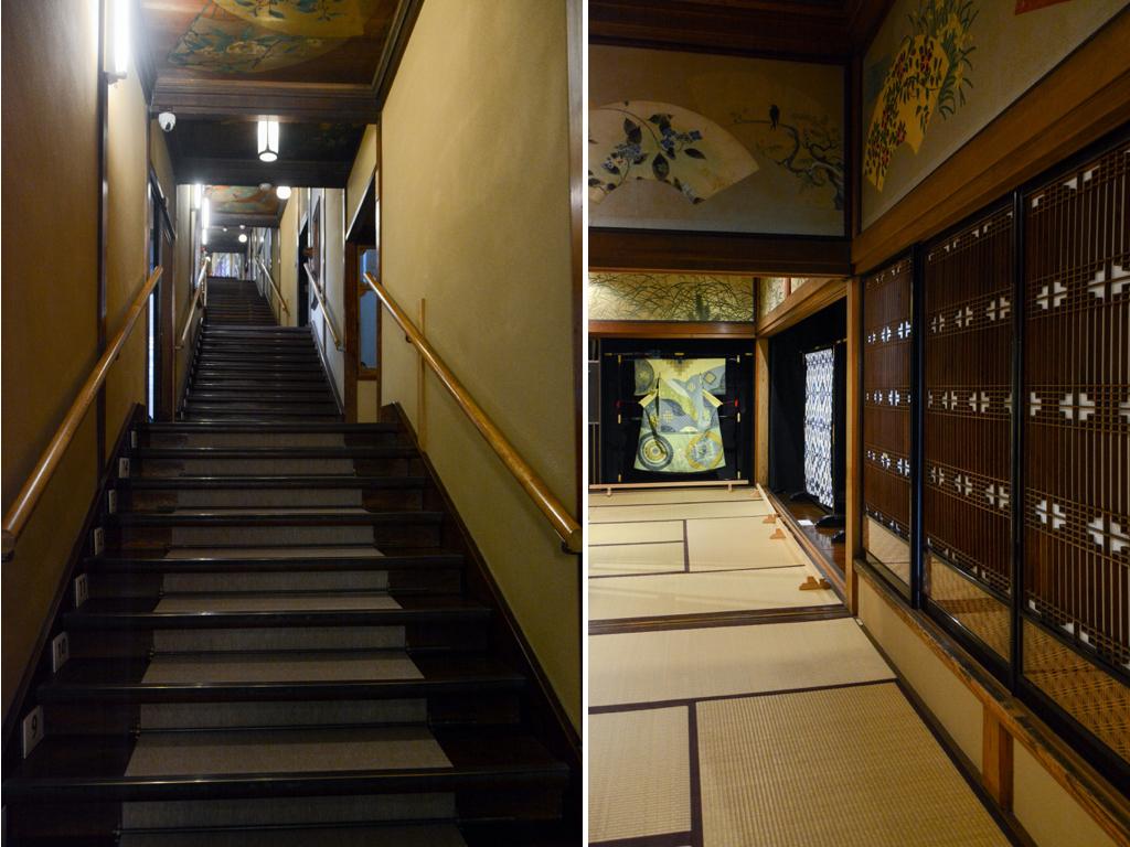 (左)太宰治が知人の結婚式で訪れた、あるいは日本に滞在したチャップリンが天ぷらを食べたといった逸話も残る百段階段(右)螺鈿、組子などの伝統工芸も美しい