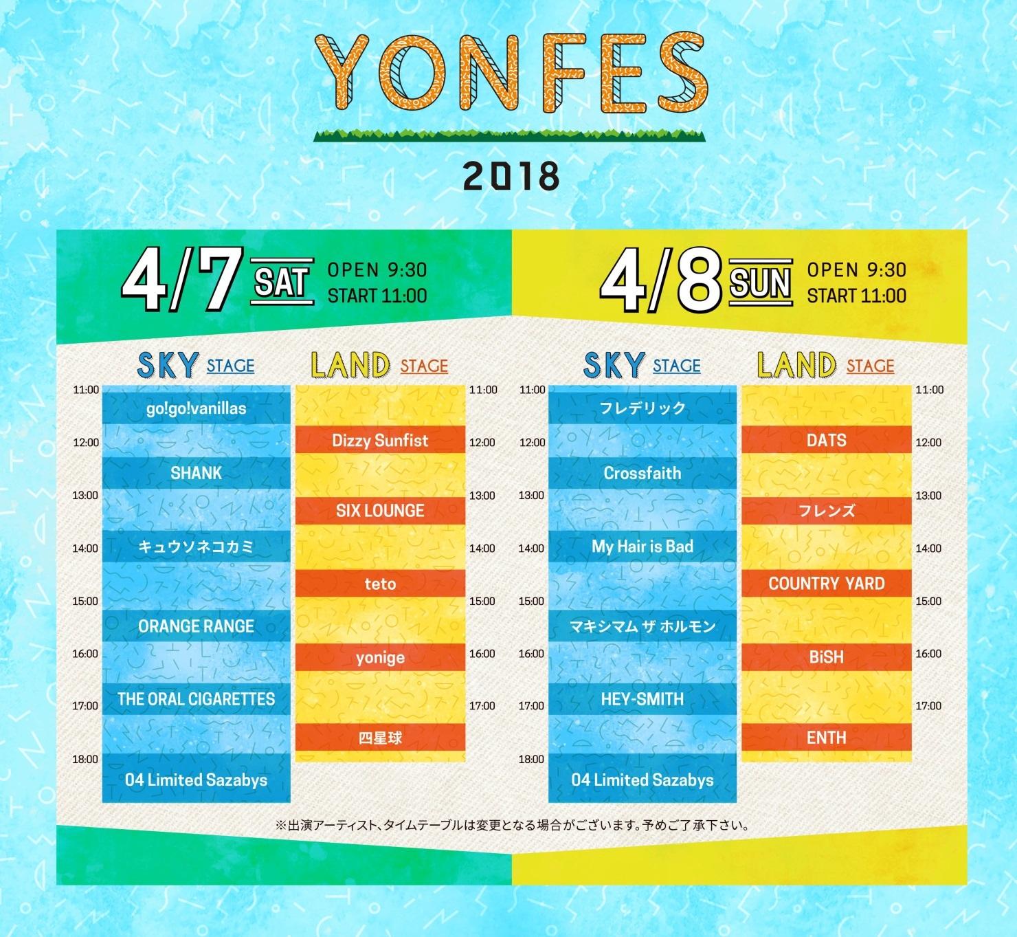 YON FES 2018タイムテーブル