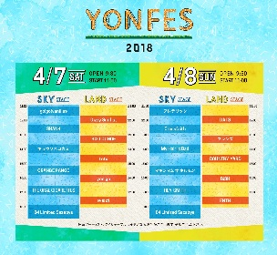 フォーリミ主催『YON FES 2018』タイムテーブルが解禁に