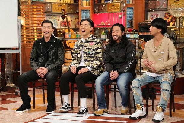 左からZeebra、KEN THE 390、R-指定、言xTHEANSWER。(c)テレビ朝日