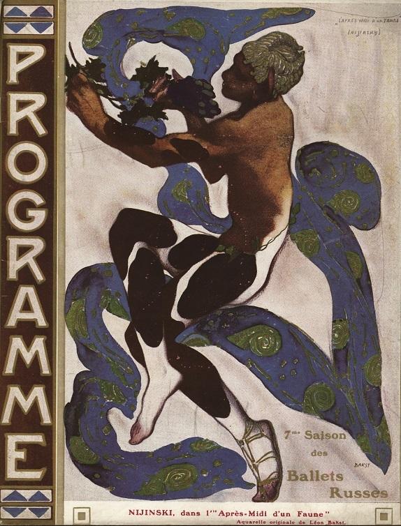 レオン・バクスト『牧神の午後』を踊るワツラフ・ニジンスキーのためのザイン/『バレエ・リュス公式プログラム』フランス:パリ・シャトレ座1912年