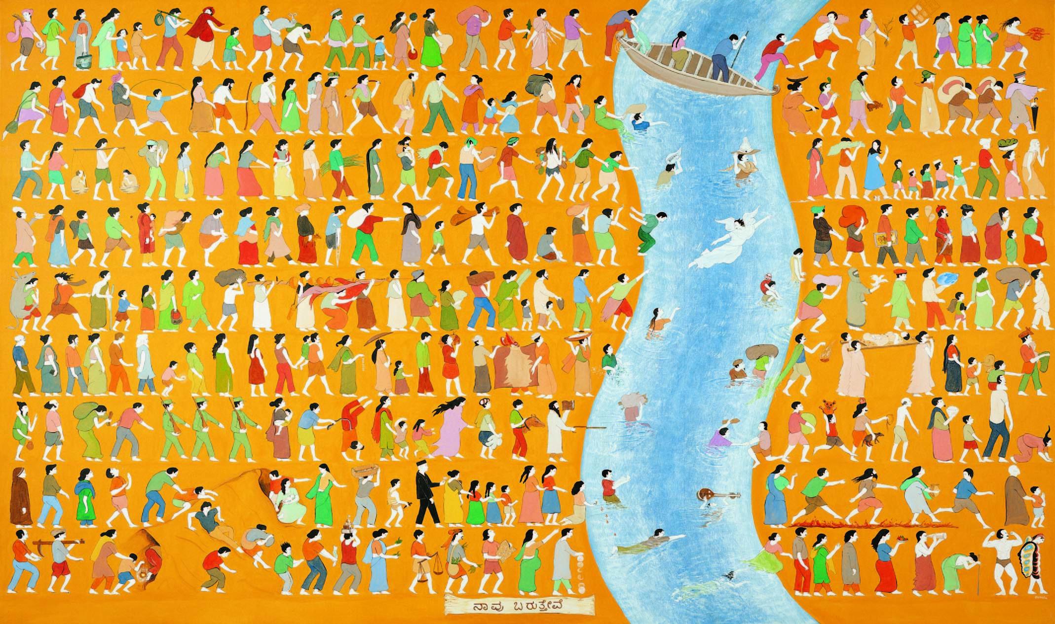 N・S・ハルシャ 《私たちは来て、私たちは食べ、そして私たちは眠る》(部分) 1999-2001年 合成樹脂絵具、キャンバス 172.1 x 289.3 cm、169.7 x 288.5 cm、172.2 x 289.2 cm 所蔵:クイーンズランド州立美術館、ブリスベン