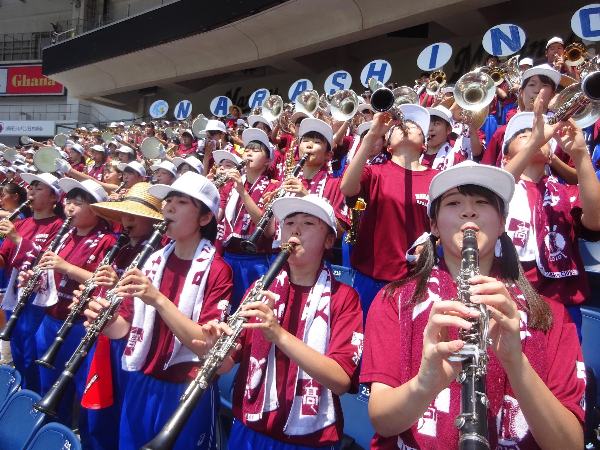 コンクールの常連校でもある習志野高のブラスバンド
