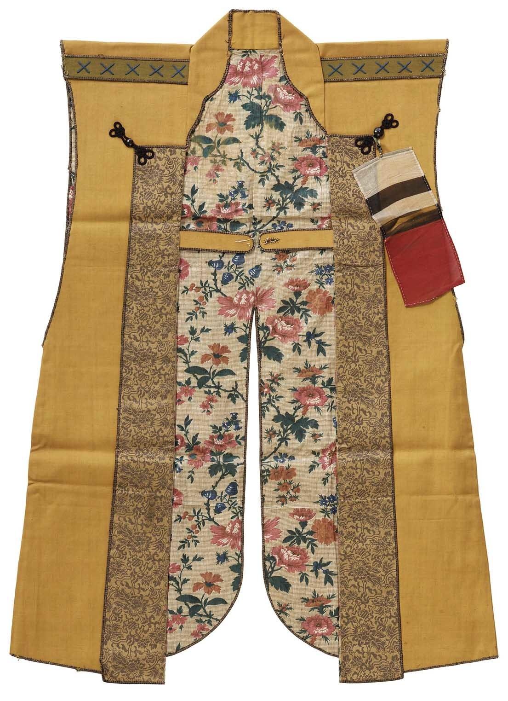 黄色呉呂地丸に横木瓜紋陣羽織(江戸後期)