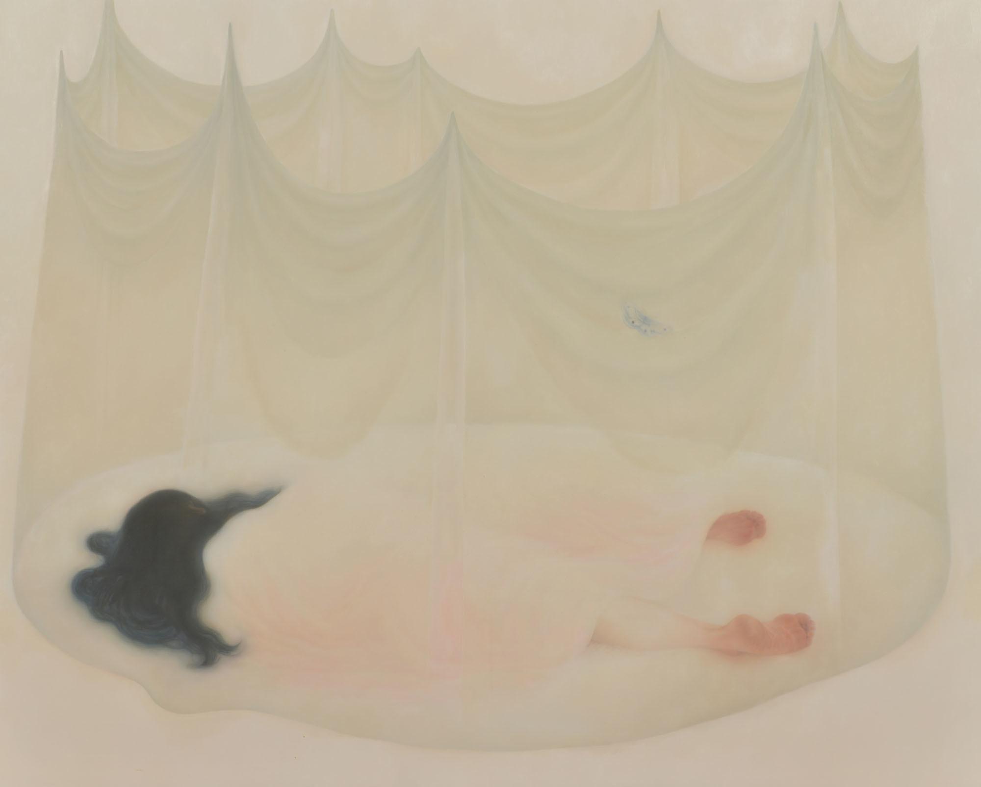 大石 奈穂(おおいし なお) 《うその融点》2016 年 油彩・綿布・パネル 130.3×162 ㎝ 1990 年生まれ