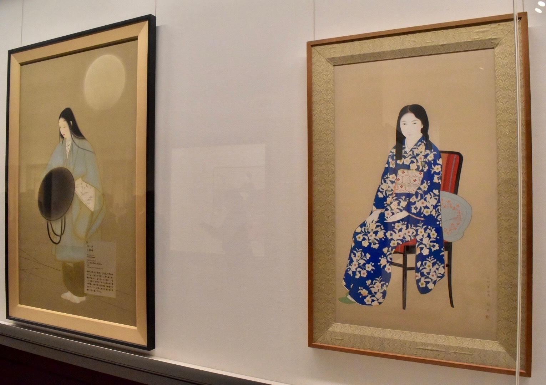 左:中村大三郎 《三井寺》 昭和14年 東京国立近代美術館蔵 右:菊池契月 《友禅の少女》 昭和8年 京都市美術館蔵