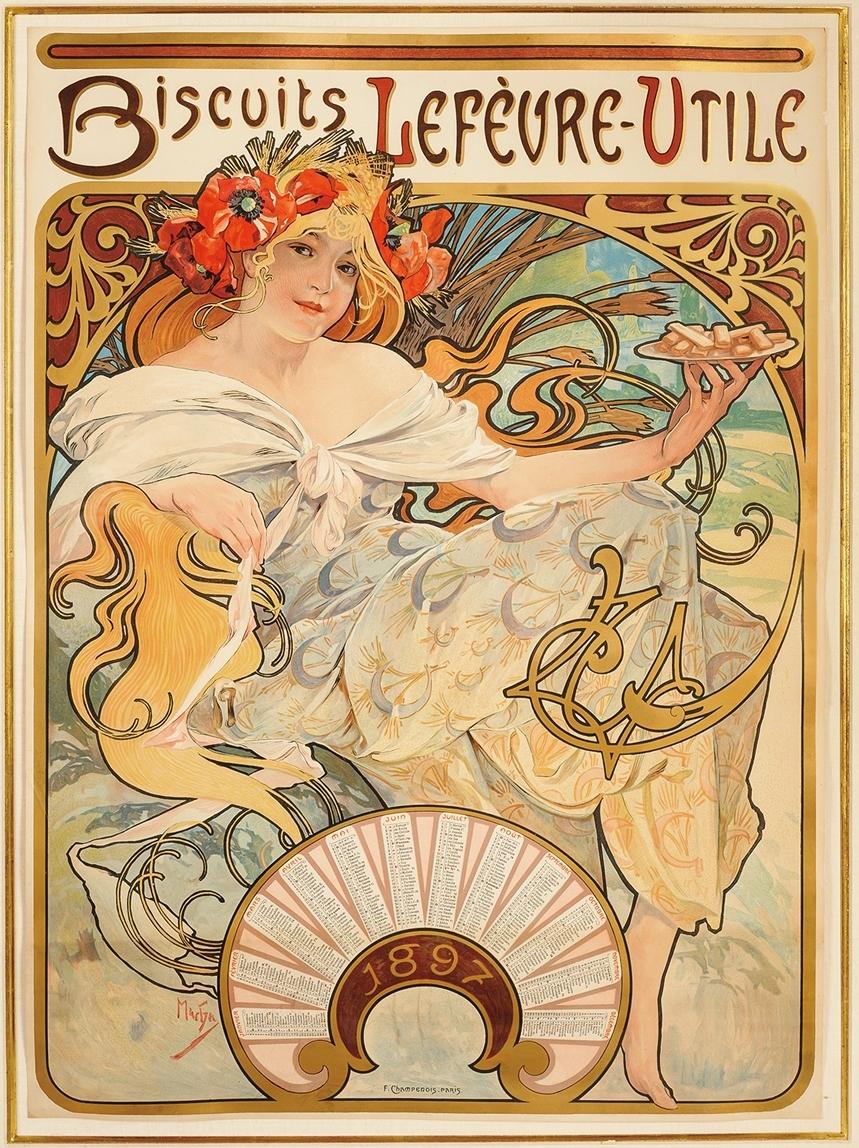 カレンダー《ビスケット・ルフェーヴル=ウティール》1896年 リトグラフ