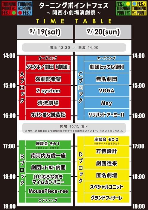 「ターニングポイントフェス~関西小劇場演劇祭~」タイムスケジュール。
