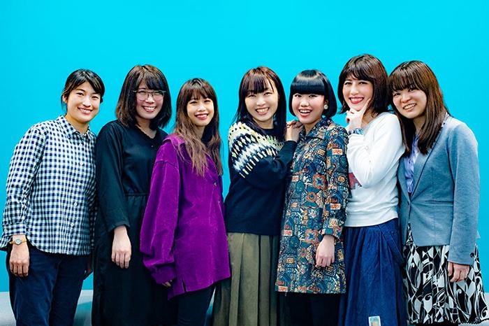 (左から)後藤のどか、三葉虫オーディンみどり、香西佳耶、フルサワミオ、荒威ばる、hocoten、鳥原弓里江 (撮影:塚田史香)