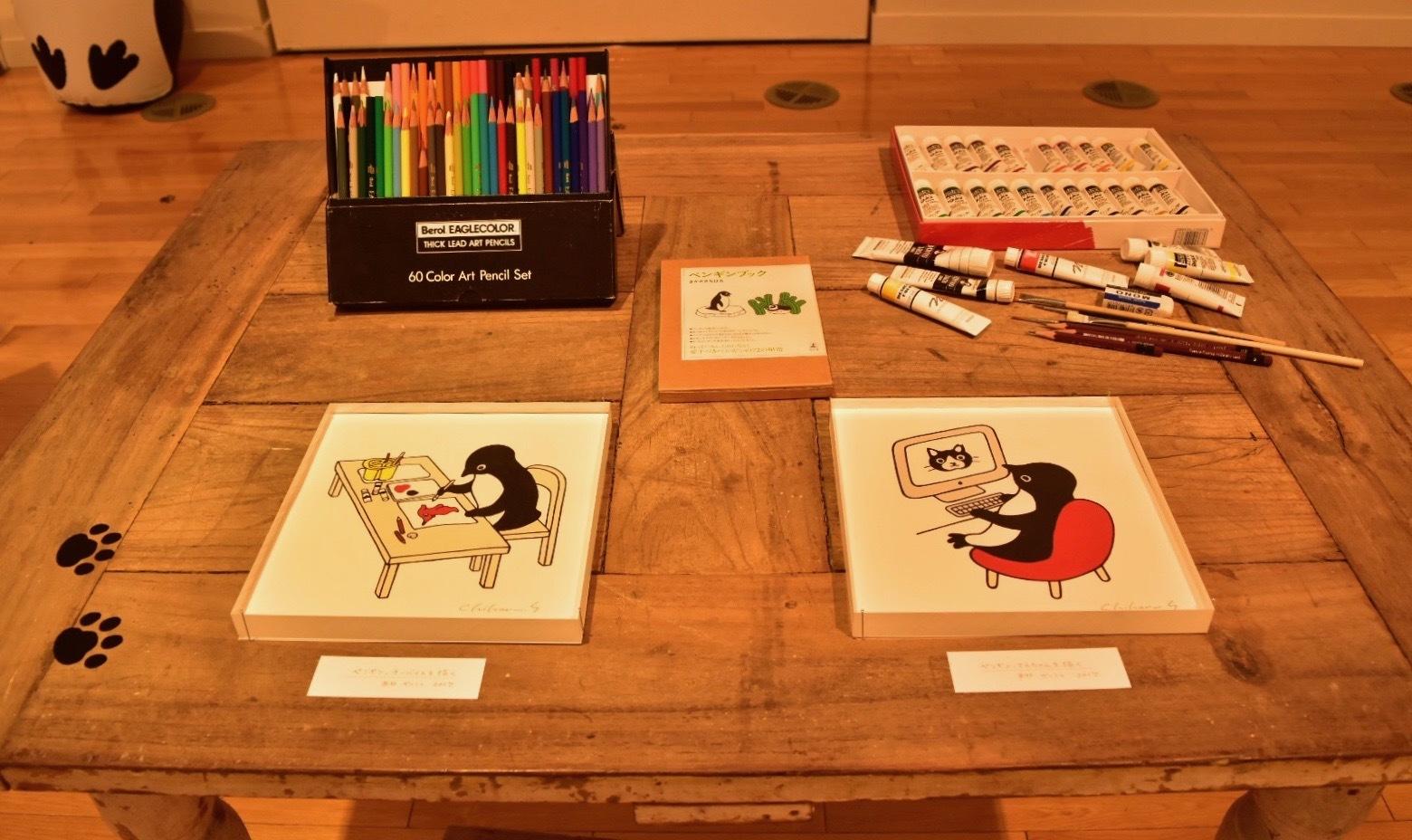 左:ペンギン、チーバくんを描く(2017年)右:ペンギン、てんちゃんを描く(2017年)