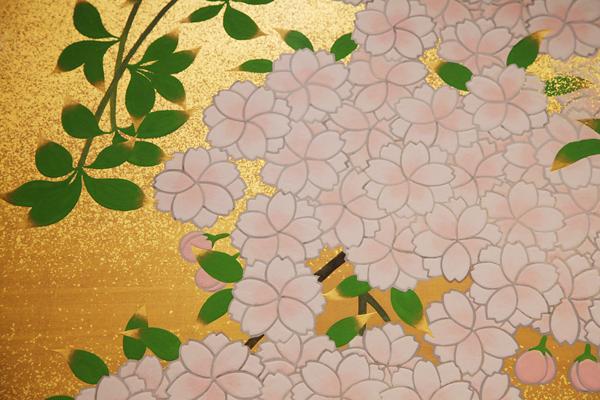 橋本明治《朝陽桜》(部分)山種美術館
