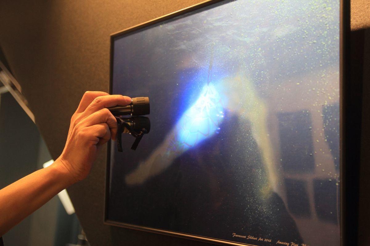 ブラックライトを当てると発光する作品