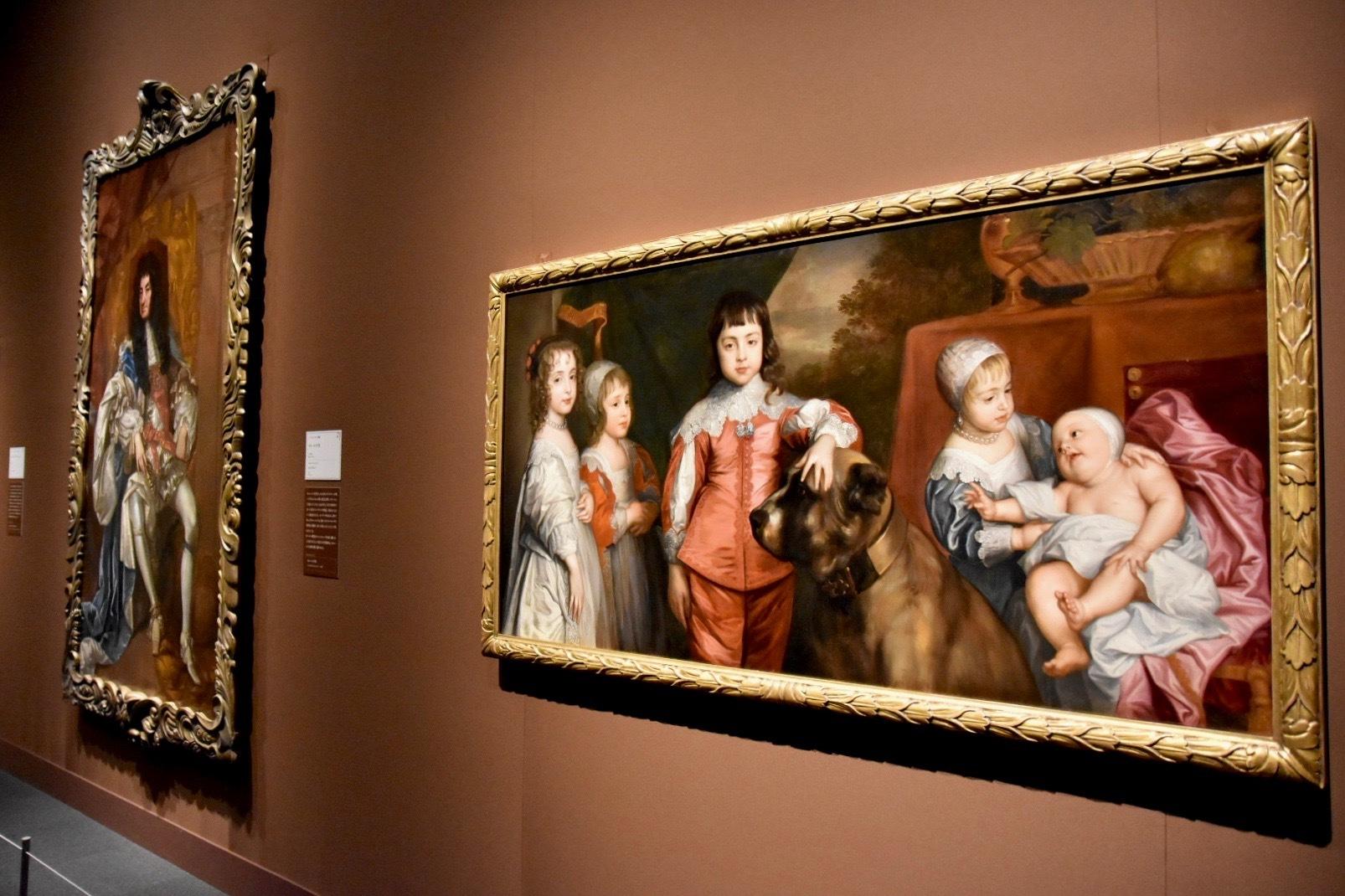 右:作者不詳(アンソニー・ヴァン・ダイクの原作に基づく)《チャールズ1世の5人の子どもたち》17世紀(原作:1637年)