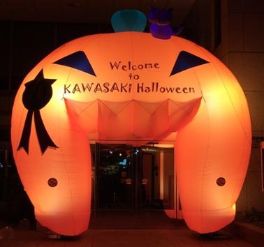 エントランスではかぼちゃのバルーンがお出迎え