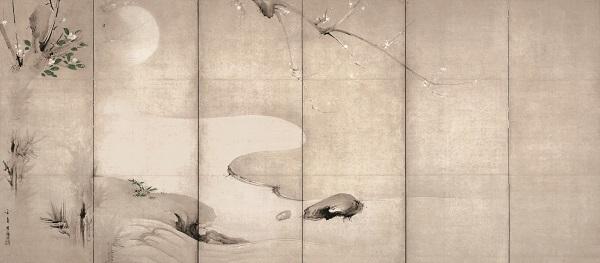 月下渓流図屏風(左隻) 海北友松筆 ネルソン・アトキンズ美術館(米国) 桃山時代 17世紀 通期展示   Photography by Mel McLean, courtesy of the Nelson-Atkins Museum of Art