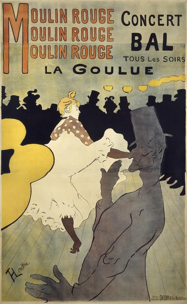 アンリ・ド・トゥールーズ=ロートレック《ムーラン・ルージュ、ラ・グーリュ》 1891年 多色刷りリトグラフ 三菱一号館美術館