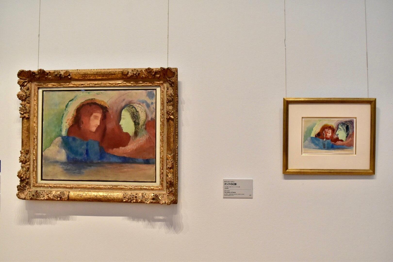 左:オディロン・ルドン 《ダンテとベアトリーチェ》1914年頃 上原美術館 右:オディロン・ルドン 《ダンテの幻影》1914年頃 上原美術館